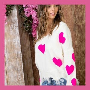 ❤️NEW ARRIVAL❤️ HOT PINK DISTRESSED HEART SWEATER